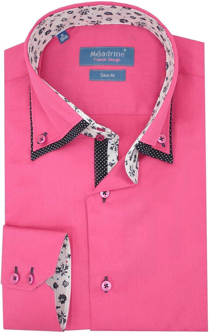 Hombre Camisa Slim Fit Color Rosa Fucsia Doble Collar Flor contrastante - L, Rose Fushia: Amazon.es: Ropa y accesorios
