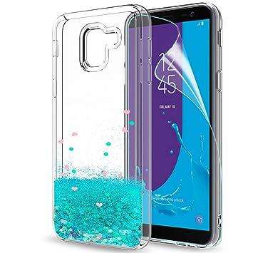 LeYi Compatible with Funda Samsung Galaxy J6 2018 / J600 Silicona Purpurina Carcasa con HD Protectores de Pantalla,Transparente Cristal Bumper ...