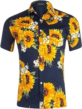 Bangxiu-Shirt Camisa Hawaiana para Hombre Camisa de Playa con Estampado de Girasol Camisa de Manga