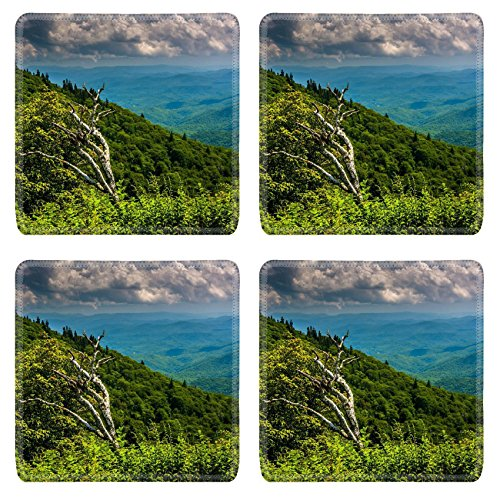 Luxlady Natural Rubber Square Coasters IMAGE ID 31076733 View from Devils Courthouse Overlook on the Blue Ridge Parkway in North Carolina