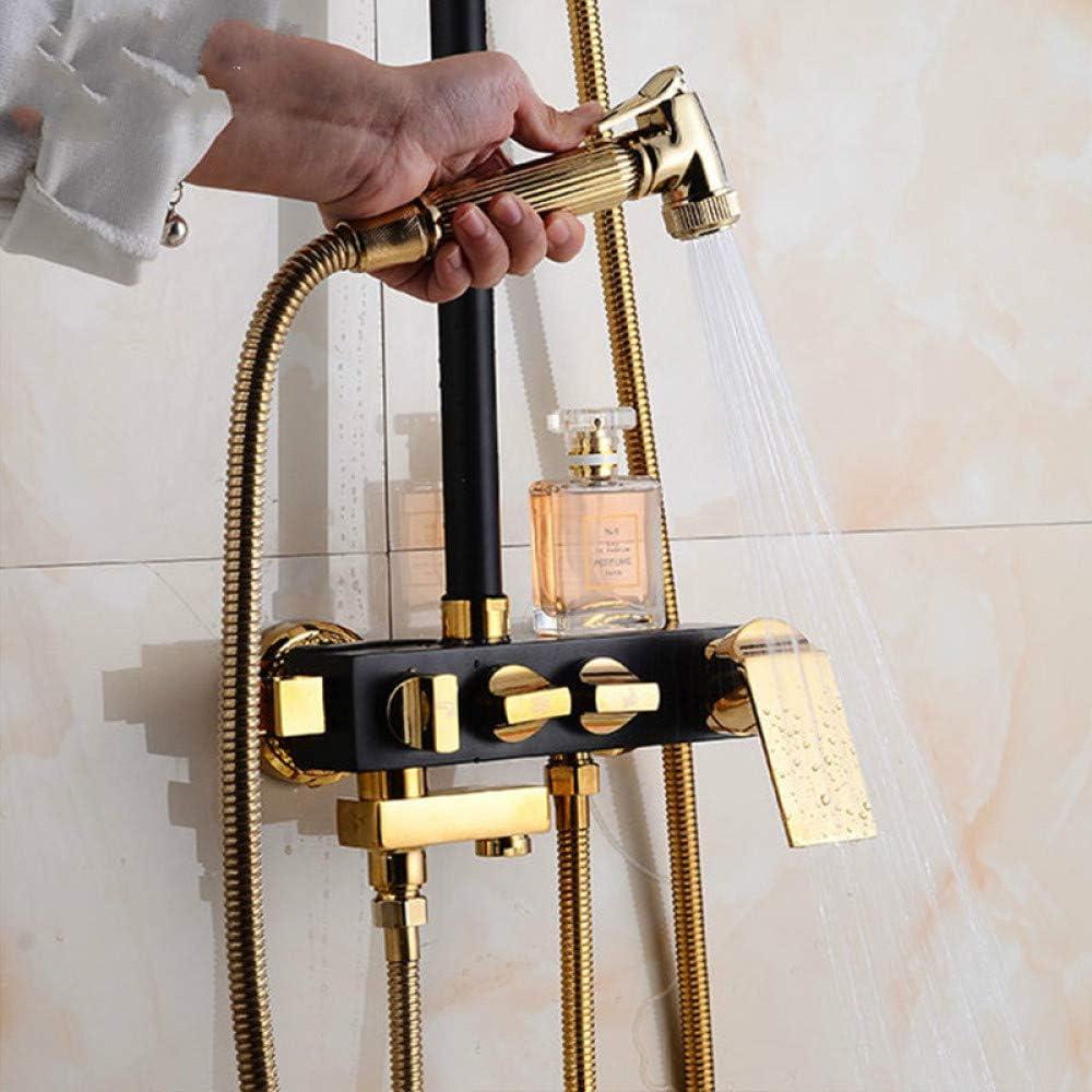 GQDP Cuarto de baño de cobre con incrustaciones de oro negro lluvia top spray de elevación conjunto bidé cuatro velocidades grifo superalimentado ducha H