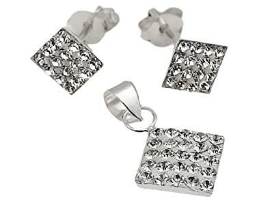 9d29a041f 925 Sterling Silver Square White Swarovski Crystal Stud Earrings ...