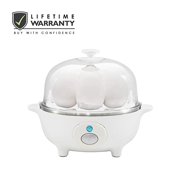 Elite Cuisine EGC-007 Easy Electric Egg Poacher, Omelet & Soft, Medium, Hard-Boiled Egg Cooker with Auto-Shut off and Buzzer, 7 Egg Capacity, White