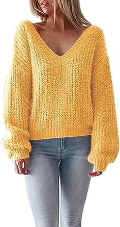 Tomwell Mujer Jersey de Punto Primavera Suéter de Cuello V de Espalda de Las Mujeres Knit del Batwing Ancho Tejer Sueter Escotado por Detrás