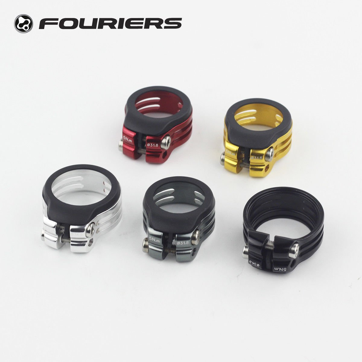 Fouriers CNC Alloy Seatpost Clamp Fixed 31.8mm/34.9mm Waterproof Superlight(31.8 red) by Fouriers