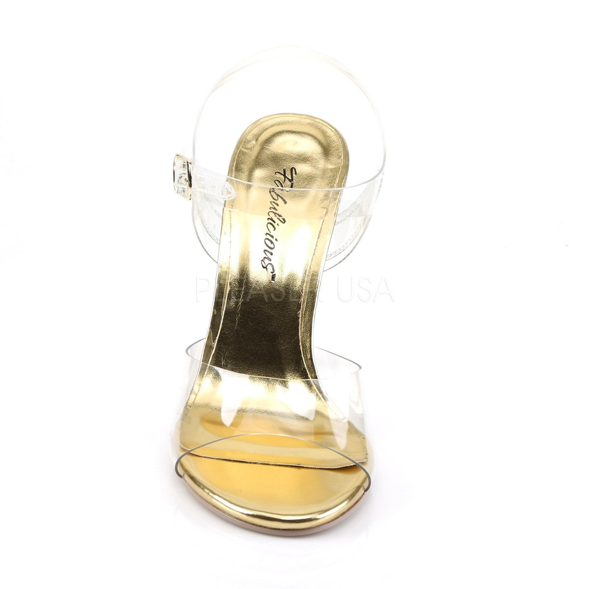 Fabulicious Women's Cle408/c Platform Sandal B01MRQZBA5 7 B(M) US|Clr Lucite-gold