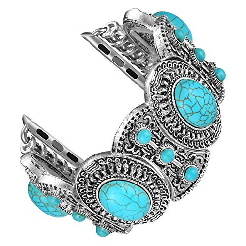 Fastgo Compatible with Apple Watch Band 42mm 44mm, Bohemian Ethnic Antique Style Compatible with Iwatch Strap Band with Turquoise for Series4/3/2/1(42mm - Strap Charm Crystal Lovely