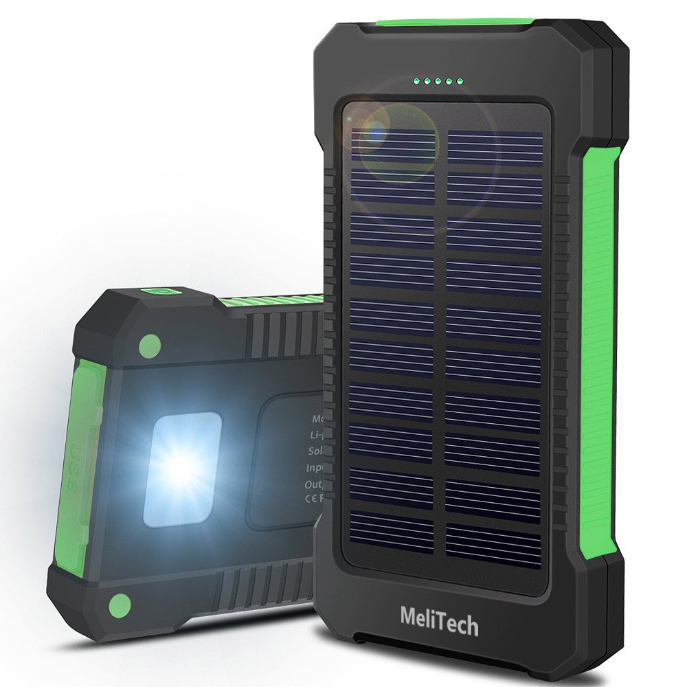 MeliTech Portable Solar Charger Waterproof Mobile Power Bank 20000mAh External Backup Battery Dual USB 5V 1A/2A Output With LED Flashlight and Compass For Phones Tablet Camera iPhone Samsung - Green