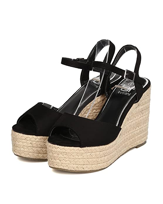 e89e91adf56 Betani Women Faux Suede Peep Toe Espadrille Platform Wedge Sandal GC12