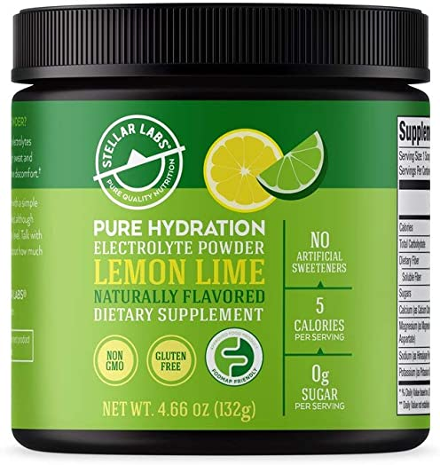 Stellar Labs Pure Hydration Electrolyte Powder Drink Mix. Sugar Free, Keto Friendly, Non GMO, Gluten Free, replenishing Vitamin and Mineral Heavy Hydration Drink.