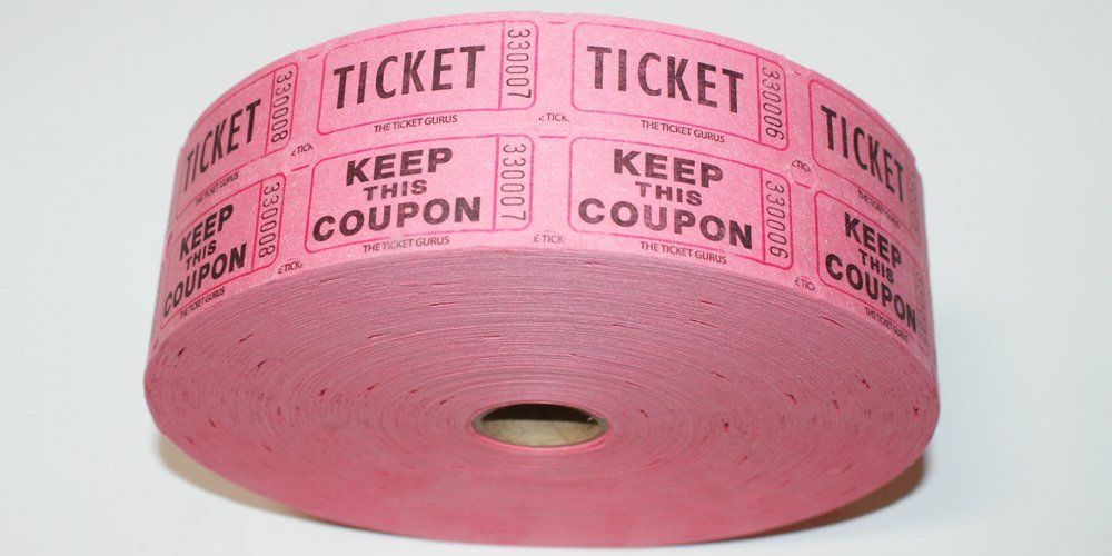THE TICKET GURUS-Double Raffle Ticket Roll : roll of 2000-(Pink) by The Ticket Gurus