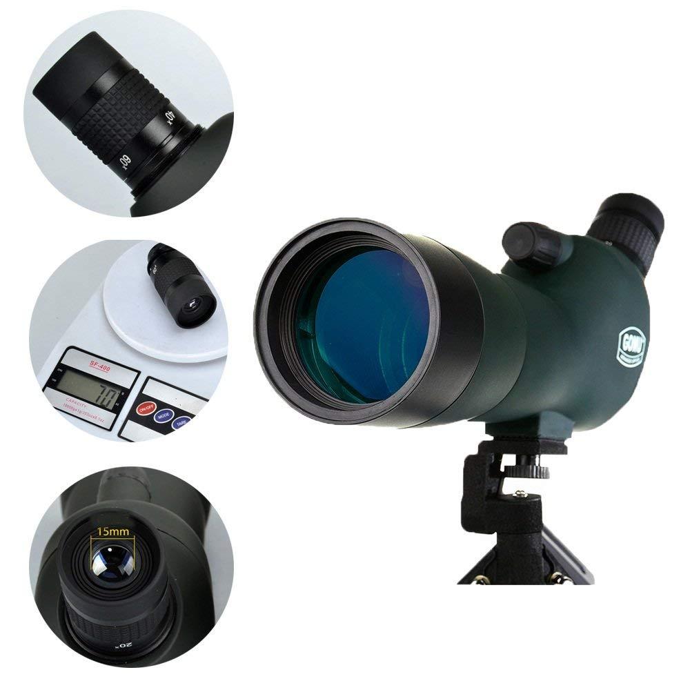 MOM Voyant pour voir le télescope panoramique Ey Grand oculaire 20-60X Lunette de visée Ipx7 Observation de l'oiseau étanche Lunette monoculaire de paysage avec trépied Angle de vision de 45 degrés,S Scope + Trépie