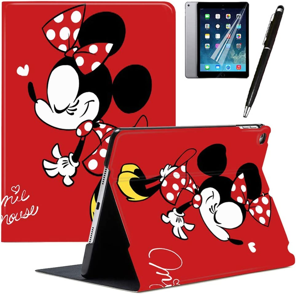 LOOKSEVEN GSPSTORE iPad 9.7 2018/2017 Case with Auto Sleep/Wake Mickey and Minnie Cartoon iPad Case Also Fit iPad Air 2 /iPad Air#1