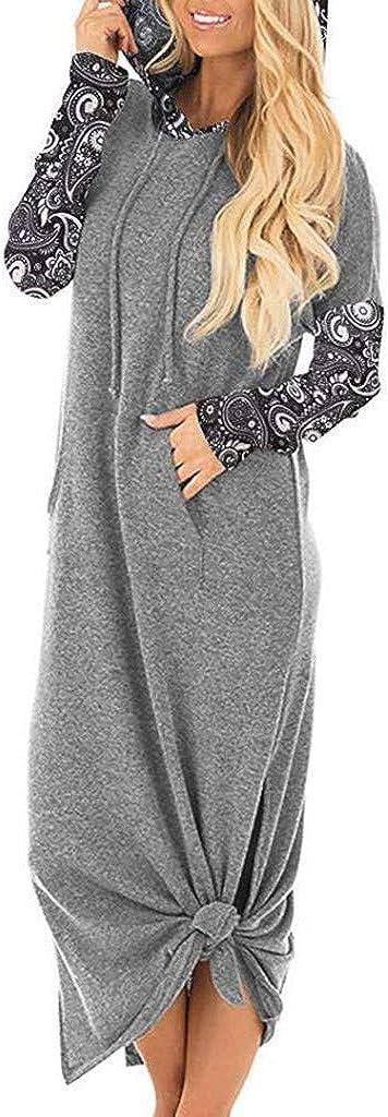 Womens Hoodies Dress Casual Pockets Hoodies Long Sleeve Split Hooded Long Maxi Dress