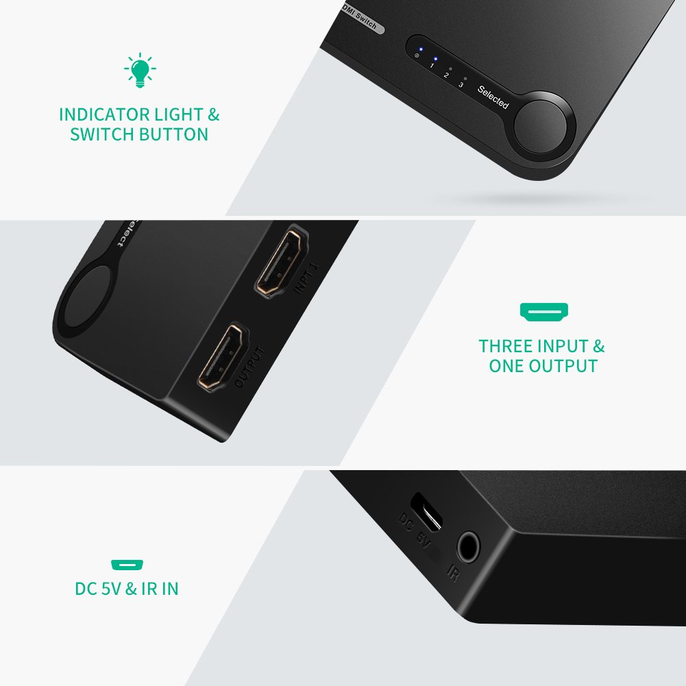 UGREEN HDMI Switch 4K, 3 Ports HDMI Switcher Hub Splitter 4K@30Hz/2K/1080P/3D with IR Remote Control for PC Laptop, Xbox 360/One, PS4/PS3, Nintendo Switch, Blu-ray player, Apple TV, Roku/Fire Stick by UGREEN (Image #6)