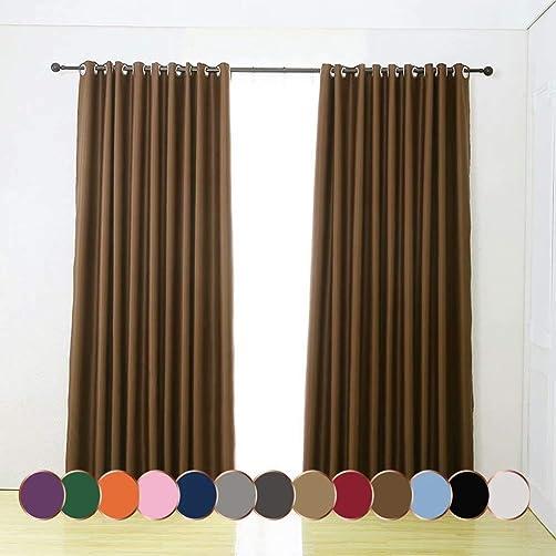 Leadtimes Brown Blackout Curtain Panels Thermal Room Darkening Grommet Window Treatment