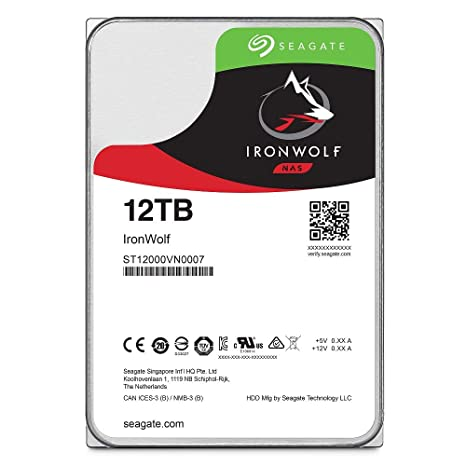 Seagate IronWolf 12TB NAS Internal Hard Drive HDD – 3 5 Inch SATA 6Gb/s  7200 RPM 256MB Cache for RAID Network Attached Storage (ST12000VN0007)