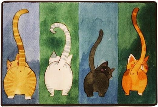 Rectangle Cartoon Lovely Cats Kitty Pattern Mat Rug for Stairway Toilet Floor Bedroom Living Room Bathroom Kitchen Home Decoration Area Non-Slip Cat Memory Foam Door Mat