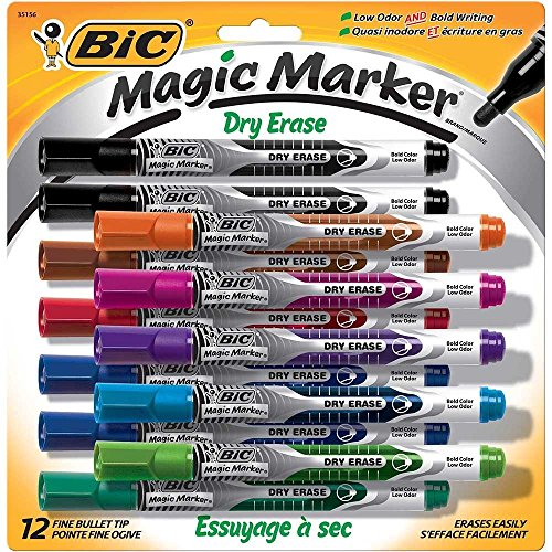 BIC Low Odor & Bold Writing Pen Style Dry Erase Marker, Bullet Tip, Assorted (3 Pack) by BIC (Image #1)