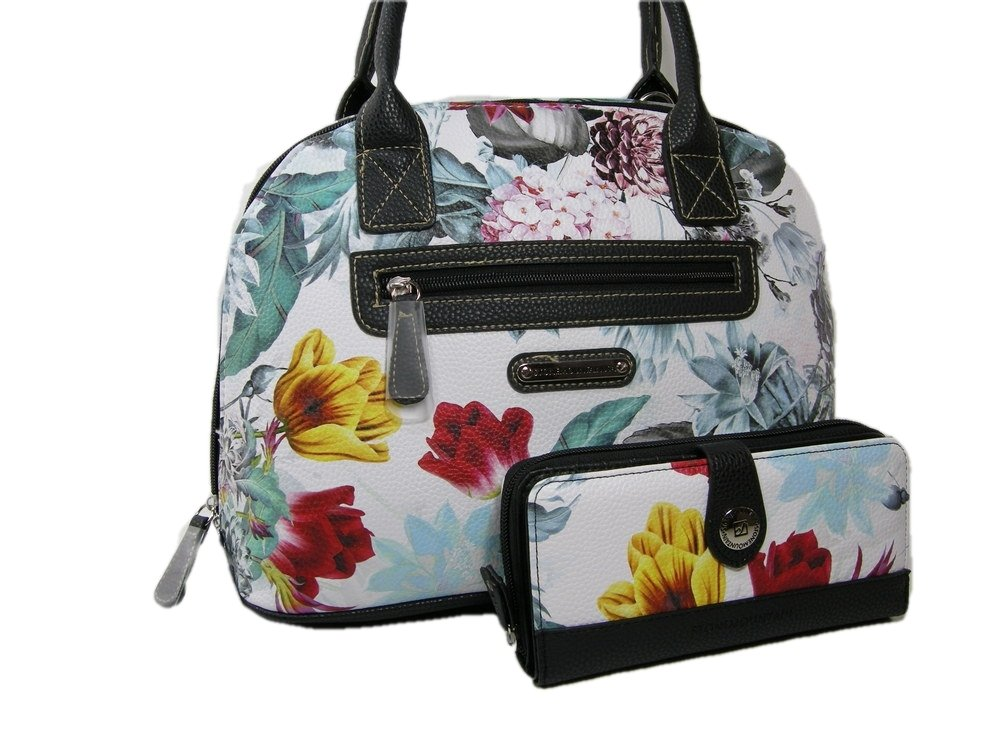New Stone Mountain Purse Crossbody Bag & Wallet Set 2 Piece Leather White Floral