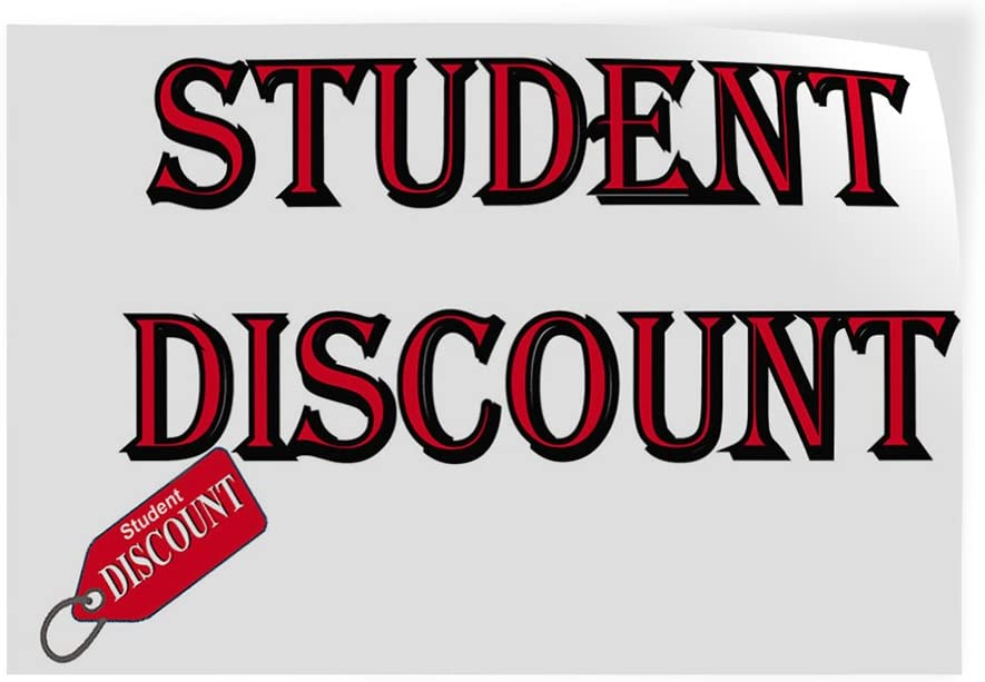 Set of 2 54inx36in Decal Sticker Multiple Sizes Student Discount Business Student Discount Outdoor Store Sign White