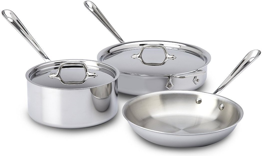 All-Clad 401599 Stainless-Steel Tri-Ply Bonded Dishwasher Safe Cookware Set, 5-Piece, Silver
