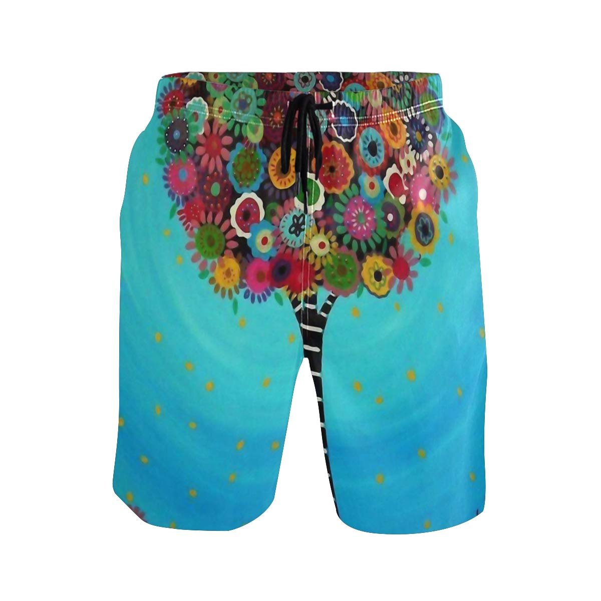 WIHVE Mens Swim Trunks Tree of Life Quick Dry Beach Board Short with Mesh Lining