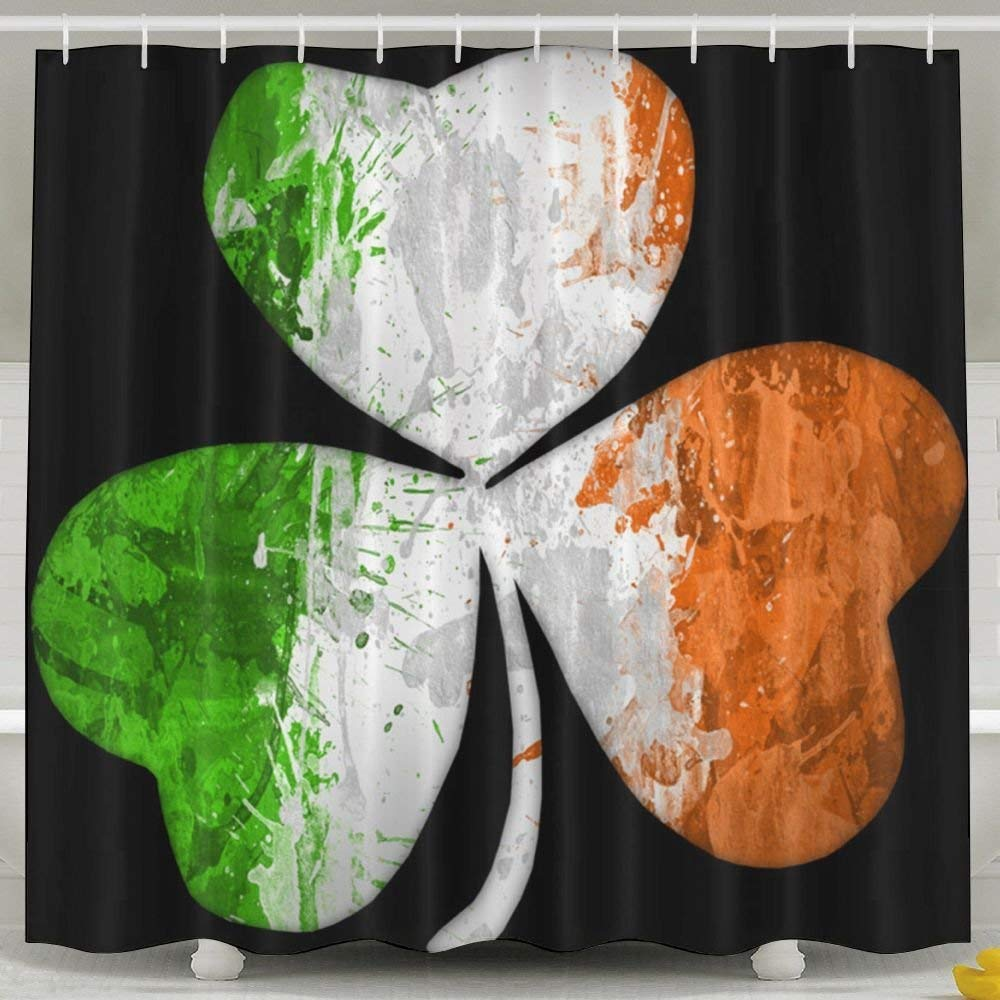 Irish Flag Shamrock Cool Design 6072 Inch Bathroom Shower Curtain Set Waterproof Mold and Mildew Resistant Bath Curtain Fabric Polyester for Bathroom Decoration HONGYUDE