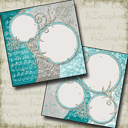 GLITTER SNOW - Premade Scrapbook Pages - EZ Layout 258 (Scrapbook Snow Page)
