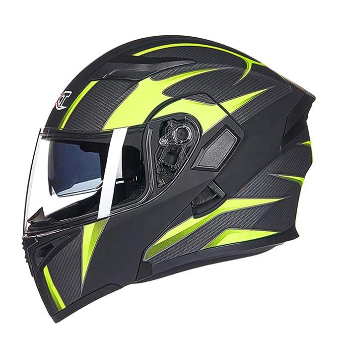 Qianliuk Unisex Racing Casco Flip up Modular Doble Lente Casco Motocicleta Casco Seguro Cara Completa