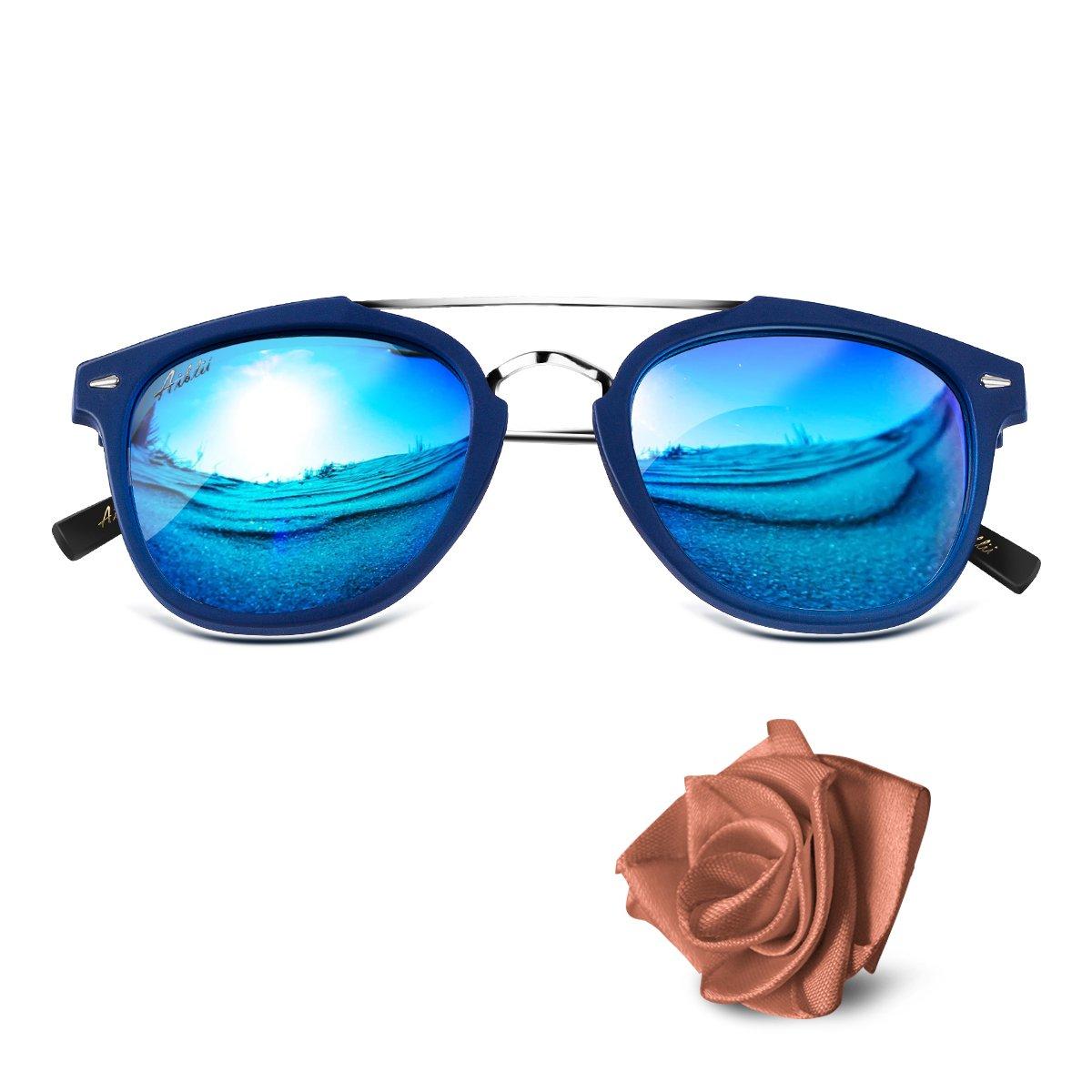 aiblii Unisex Mirror Lens UV400 Retro telaio Polarized Occhiali da sole - Vintage Round Metal Wayfarer Occhiali da sole per Uomini e Donne C6