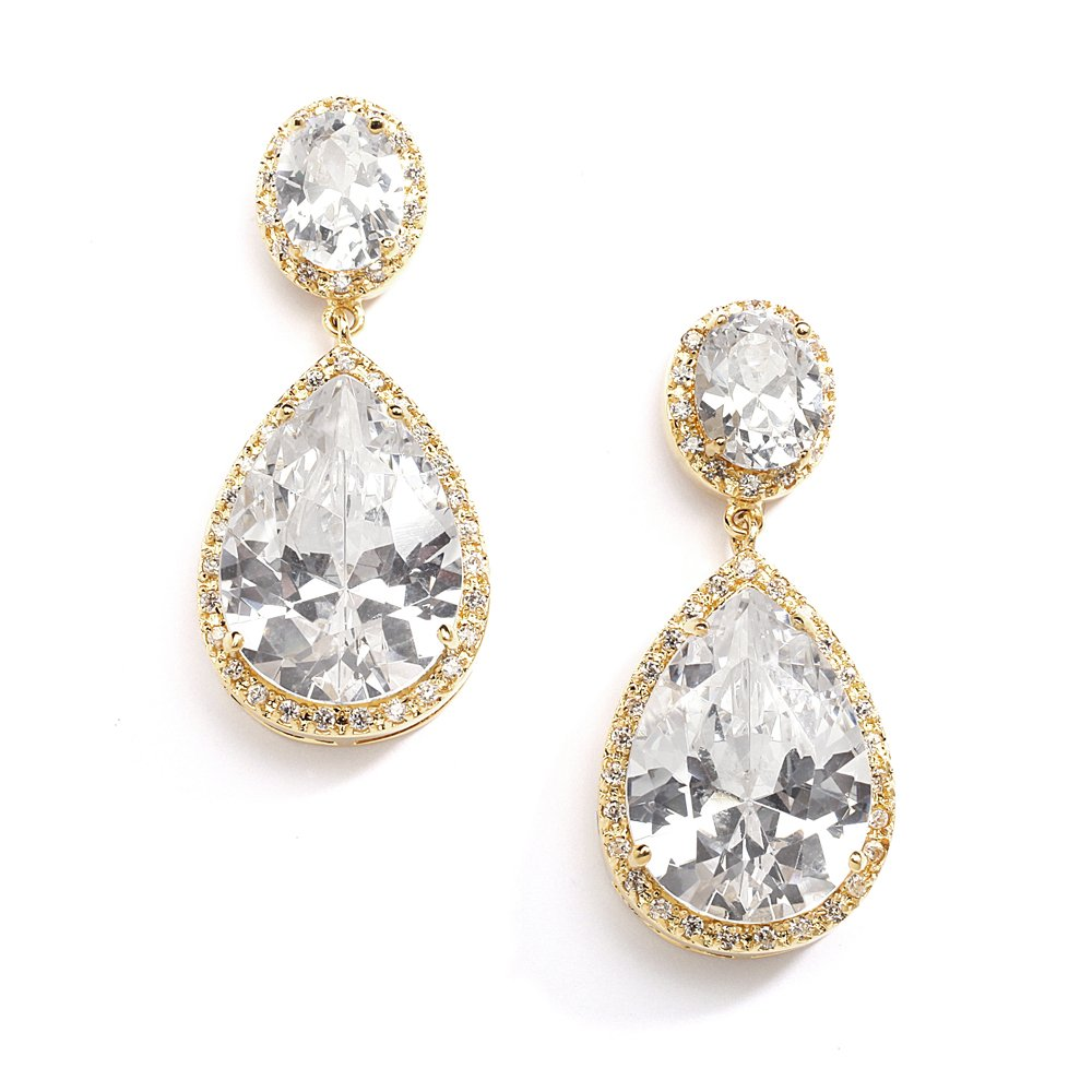 Mariell 14K Gold Plated CZ Clip On Wedding Earrings with Oval-Cut Halos and Bold Pear-Shaped Dangles by Mariell