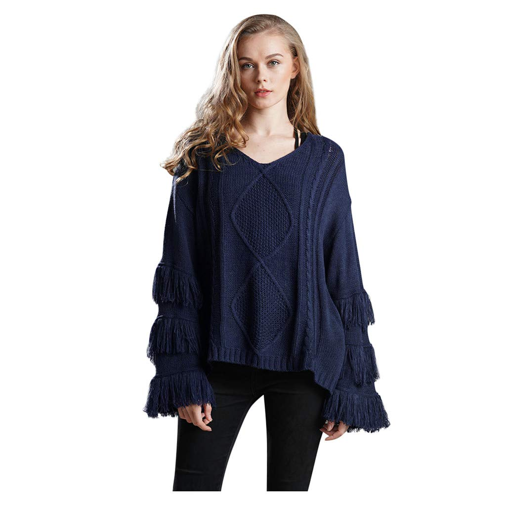 Shusuen Women's Knitwear Pullover V Neck Flared Tassel Sleeve Side Slit Knit Cable Sweater Navy by Shusuen_Clothes