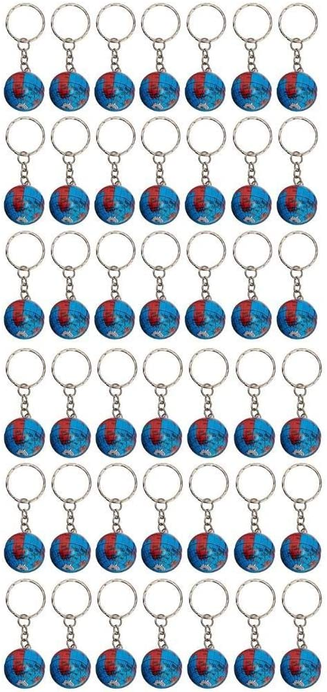 """1"""" Globe Keychains Earth Globe Key Chains,50 Pcs Mini Backpack Hook for Travelers,Ball Keyring Pendant for Bag&Belt Loop Accessory,Back to School Item,Arts and Crafts,Educational Tool,Party Favors"""