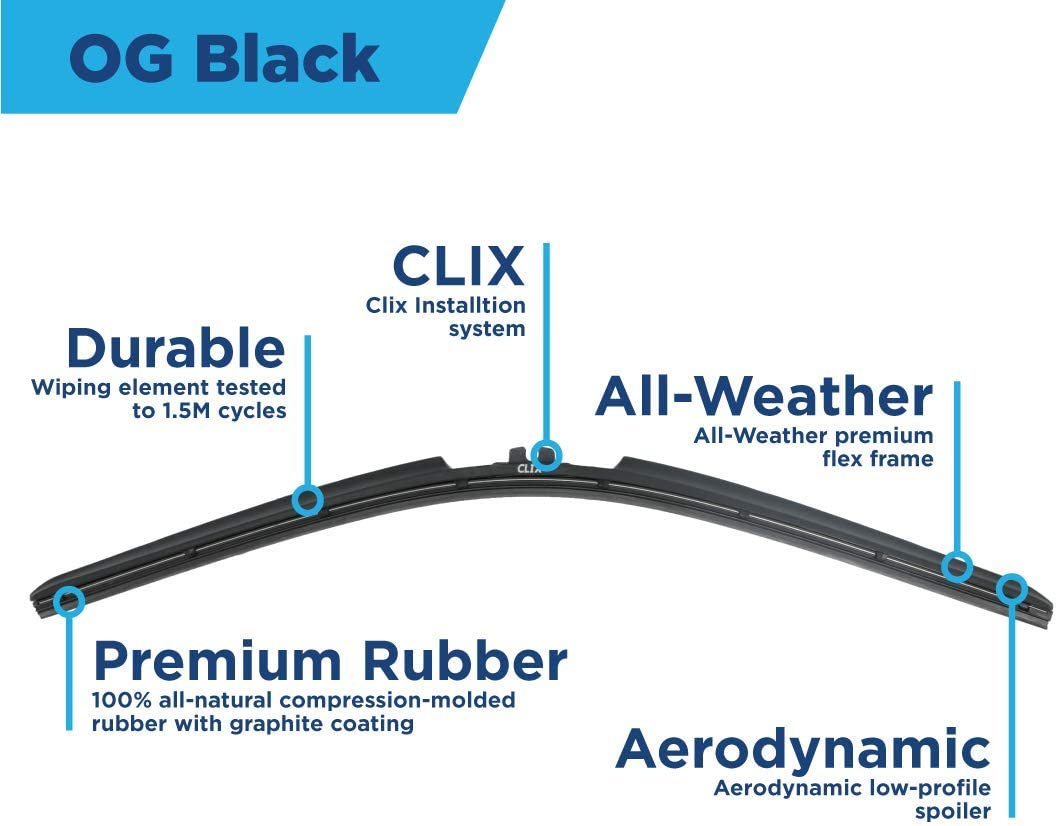 Fits All RL//PT Arm Attachments 2222 OG Black X3-Clip Clix Wipers 2 Pack
