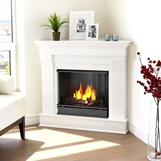 Amazon Com Chateau Corner Gel Fuel Fireplace Finish White Home