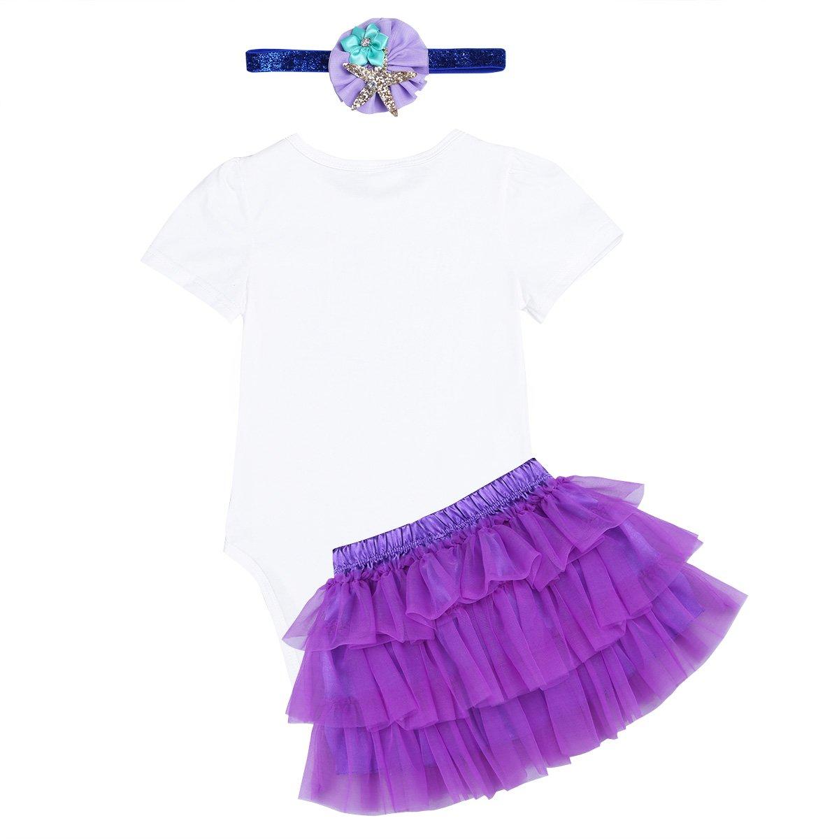 69efdd6c8ed8 Amazon.com  CHICTRY Little Baby Girls 1st Birthday Outfit Mermaid Costume  Princess Romper with Tutu Skirt Headband Set  Clothing