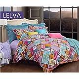LELVA Colorful Plaid Cotton Bedding Sets Bohemian Style Bedding Set Boho Duvet Cover Set Queen Size 4pcs (Purple)