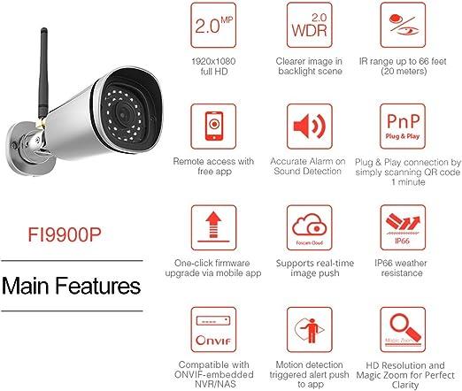 Foscam FI9900P - Cámara IP de vigilancia para exterior, función ...