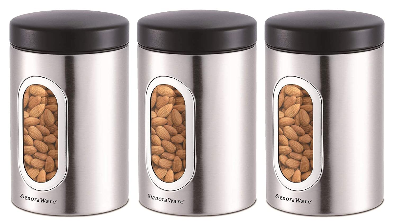 Signoraware Modular Steel Container (Window Round) Matte,Set of 3, 950ml+950ml+950ml, Silver