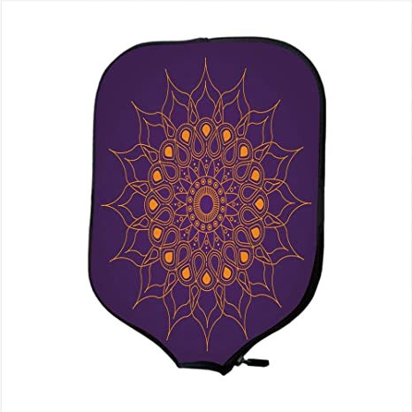 YCHY High Grade Neoprene Pickleball Paddle Racket Cover Case,Purple Mandala, Mystic Sun Inspired