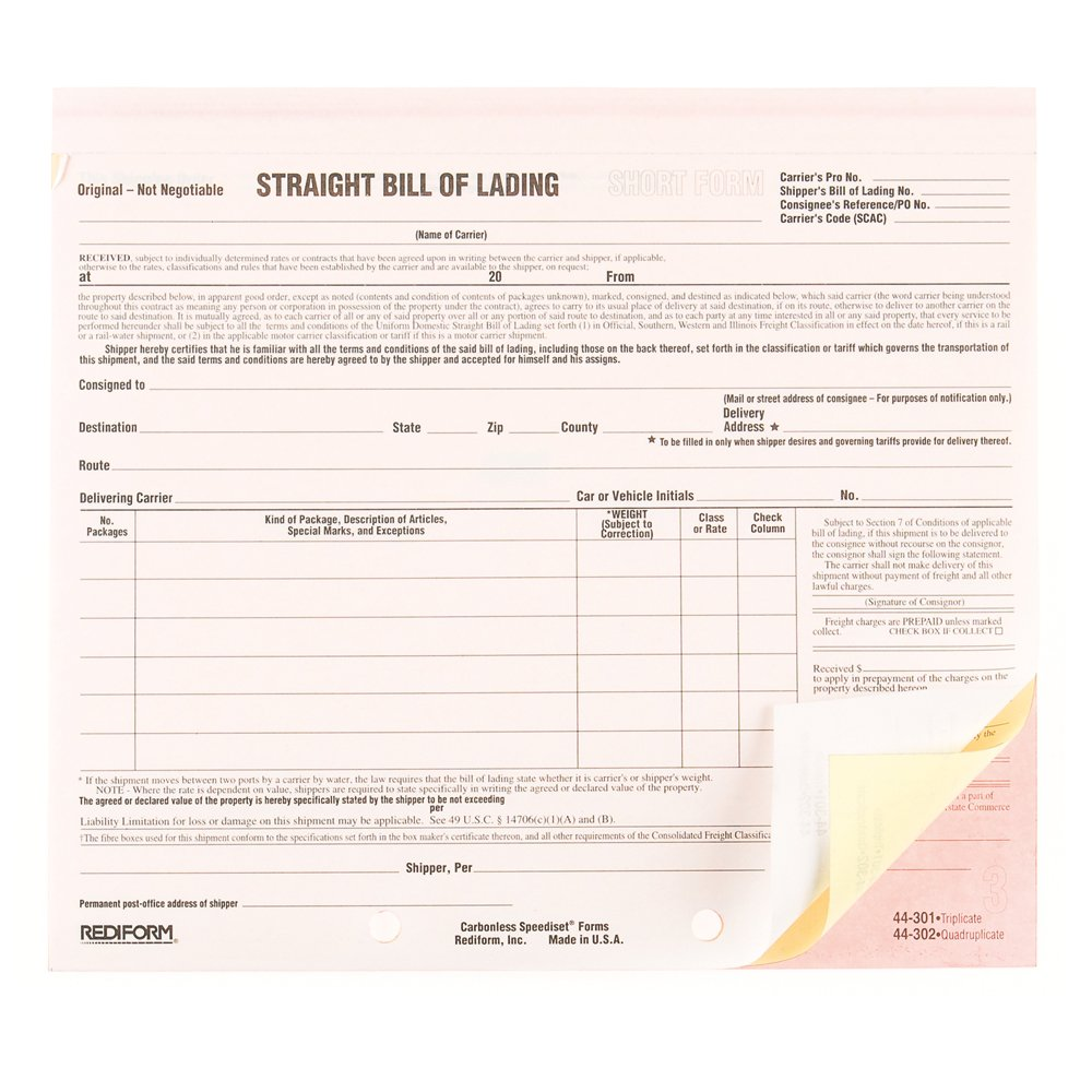 Amazon REDIFORM Speediest Bill of Lading Short Form – Blank Bill of Lading Short Form
