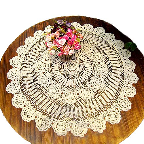 KEPSWET Cotton Handmade Crochet Lace 36 inch Round Tablecloth Beige Table Overlay Decoration
