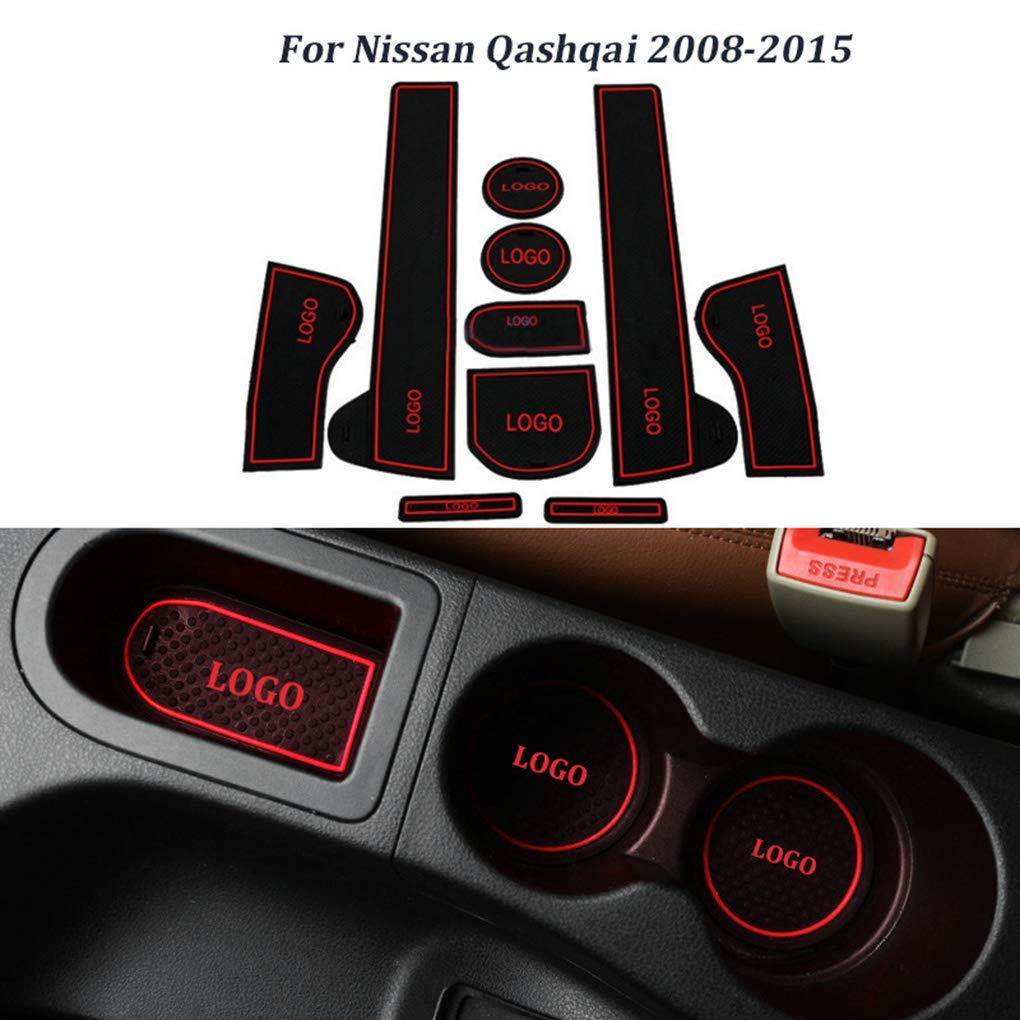 Morza 10pcs Set Anti-Rutsch-Innendekor-Matten-T/ür-Groove-Tor Slot Pad Ersatz f/ür Nissan Qashqai 2008-2015