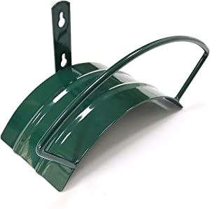 Deluxe Wall Mount Garden Hose Hanger Duty Metal Hose Holder Easily Holds 125 3/4'' Hose Solid Steel Extra Bracing Forest Green