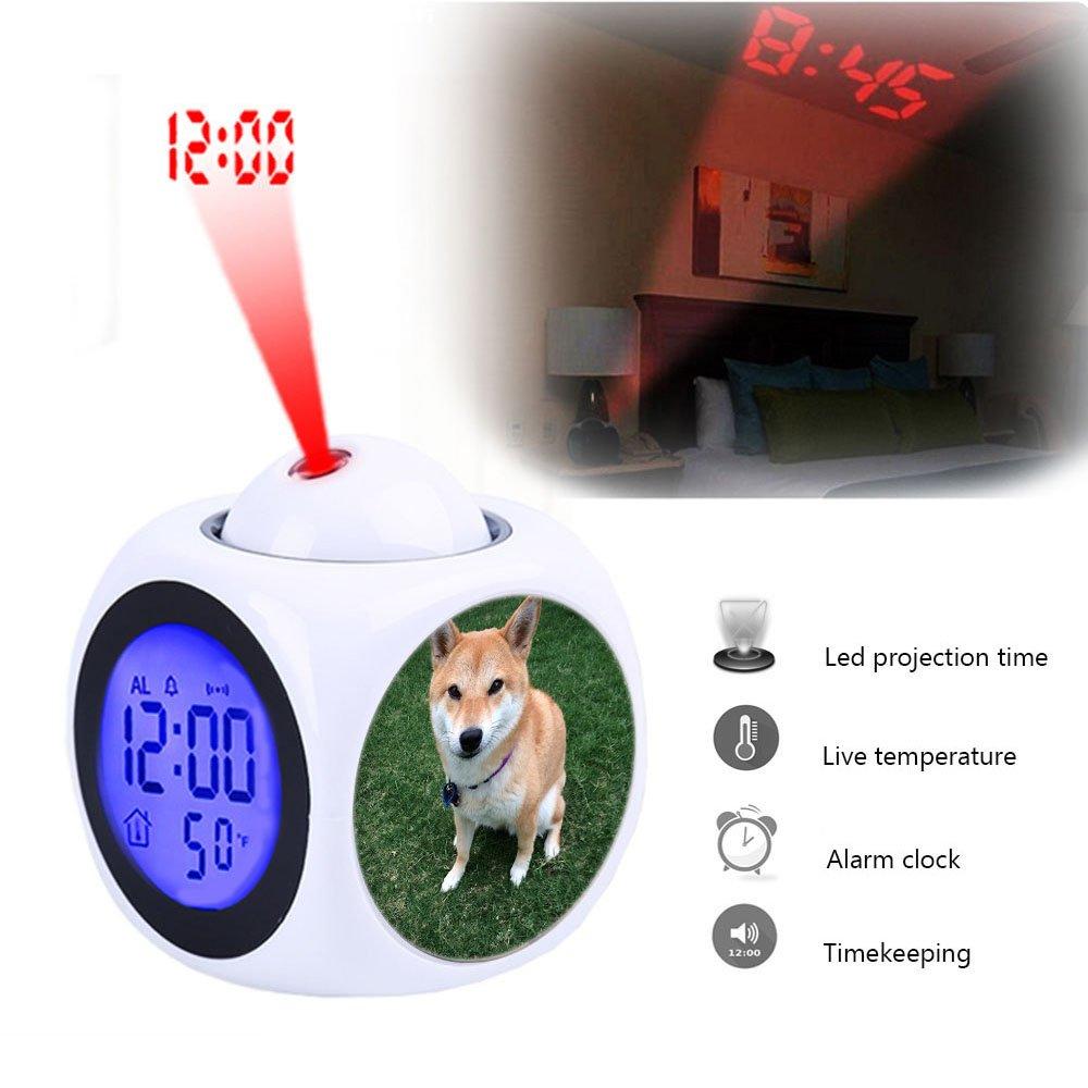 Alarma de proyección reloj despertador dormitorio con datos ...