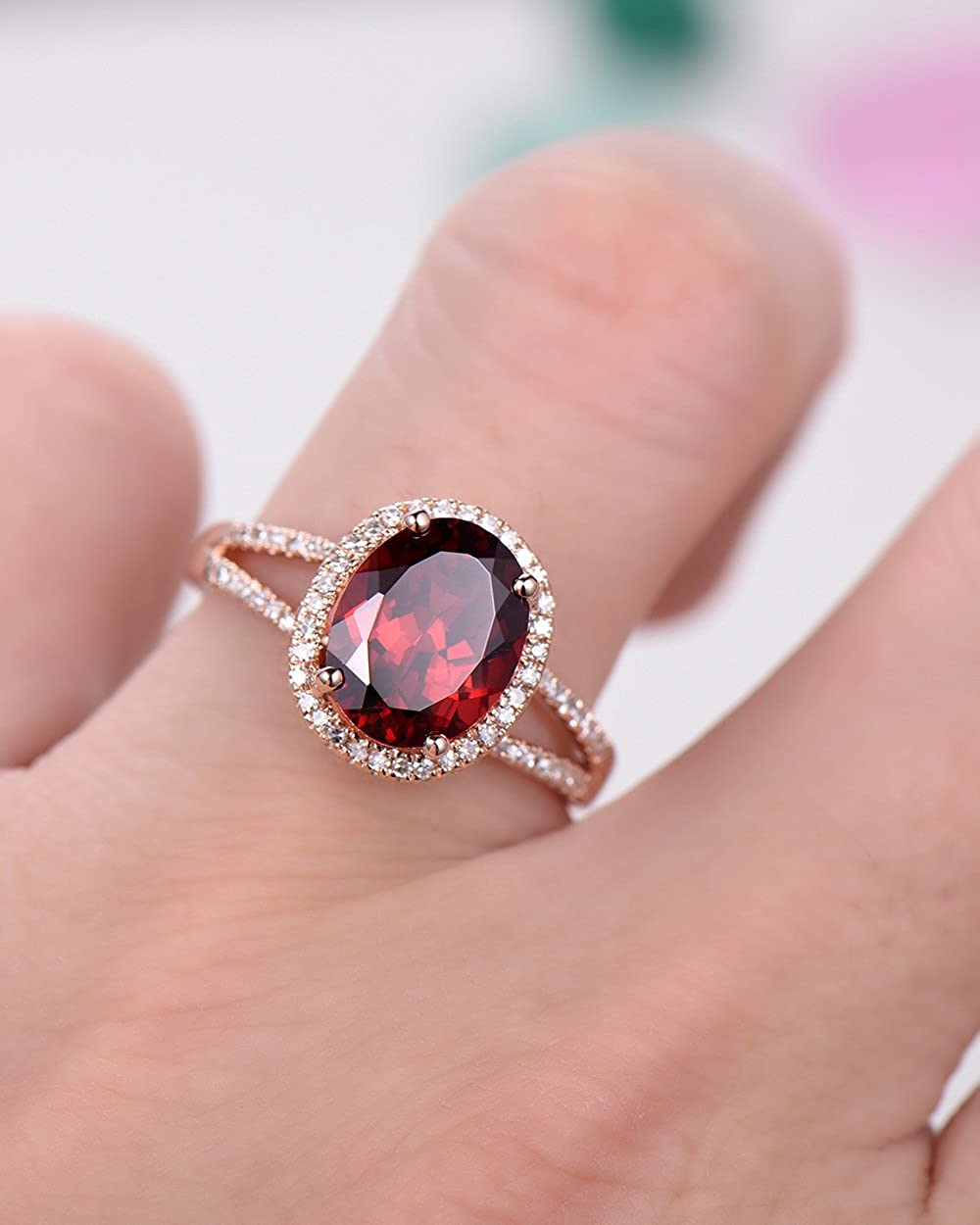Amazon.com: Red Garnet Engagement Ring Oval 925 Sterling Silver Rose ...