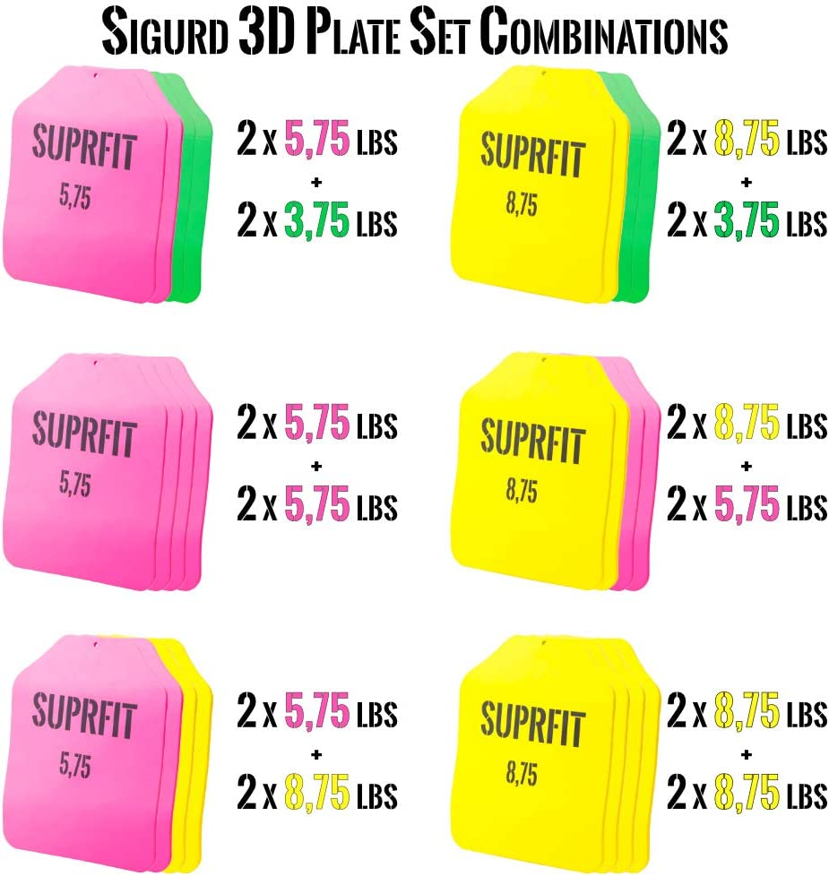 Suprfit Sigurd 3D Gewichtsweste Plate Set Trainingsweste inkl individuell beladbare Laufweste f/ür Cross Training /& Krafttraining Zusatz Gewichten Unisex Trainingsgewicht: 9,1 kg 16,7 kg