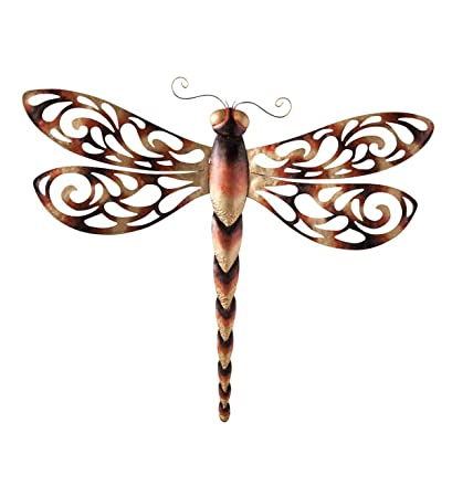 Amazon Com Wind Weather Large Metal Dragonfly Wall Art 34 25 W