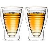 Creano doppelwandiges Thermoglas, 200ml, 2er Set, hitzebeständiges Kaffeeglas / Teeglas aus hochwertigem Borosilikatglas in Ringeldesign